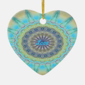 Kaleidoscope design product image-made with love Double-Sided heart ceramic christmas ornament