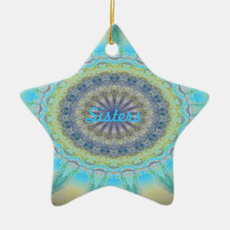 Kaleidoscope design product image-made with love Double-Sided star ceramic christmas ornament