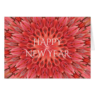 Kaleidoscope Design Red Flower Happy New Year Text Card