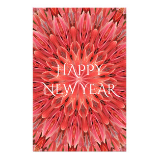 Kaleidoscope Design Red Flower Happy New Year Text Stationery