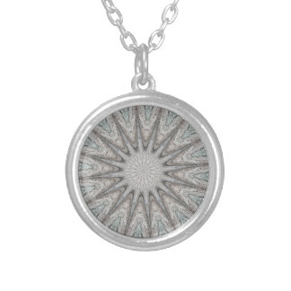 Kaleidoscope Design Rustic Light Gray Colors Silver Plated Necklace