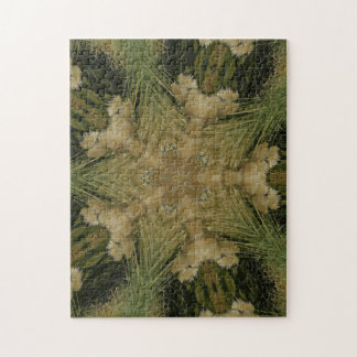 Kaleidoscope Design Star from Pampas Grass Green Jigsaw Puzzle