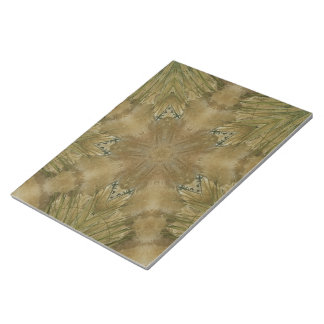 Kaleidoscope Design Star from Pampas Grass Green Notepad