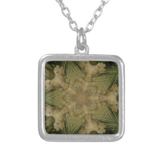 Kaleidoscope Design Star from Pampas Grass Green Silver Plated Necklace