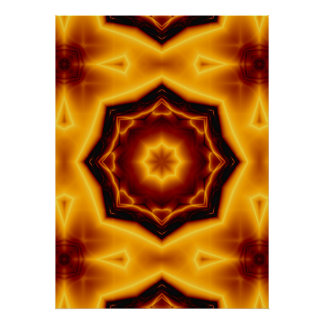 Kaleidoscope Eight Pointed Star on Fire Poster