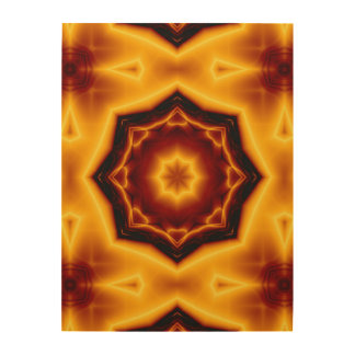 Kaleidoscope Eight Pointed Star on Fire Wood Print