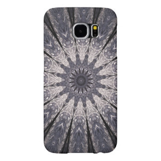 Kaleidoscope Flower Shades of Blue and Grey Samsung Galaxy S6 Cases
