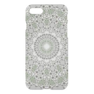 Kaleidoscope Fractal Mandala - grey green iPhone 7 Case