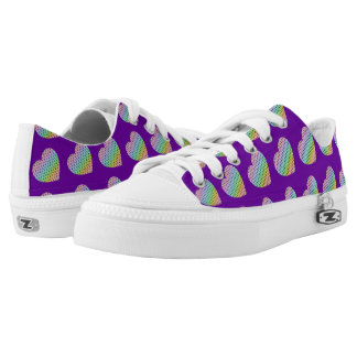 Kaleidoscope honeycomb pattern Heart Purple Low Tops
