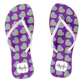 Kaleidoscope honeycomb pattern Heart Purple Thongs