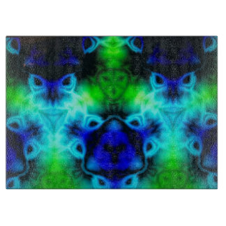 Kaleidoscope image with blues and gree cutting board