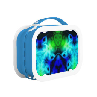 Kaleidoscope image with blues and gree lunch box