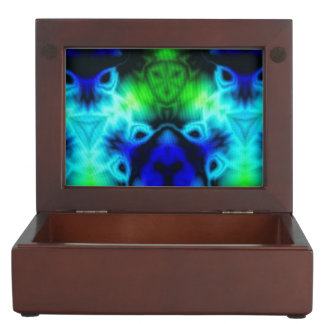 Kaleidoscope image with blues and gree memory boxes