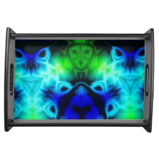 Kaleidoscope image with blues and gree serving tray