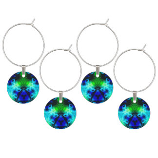Kaleidoscope image with blues and gree wine charm