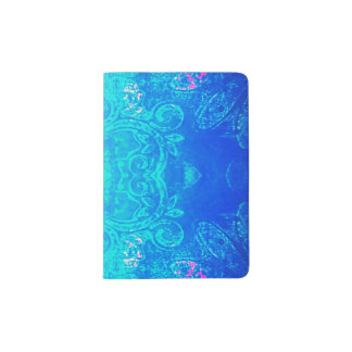 Kaleidoscope in blue/aqua passport holder