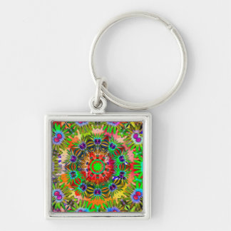 KALEIDOSCOPE KEYCHAIN Silver-Colored SQUARE KEYCHAIN