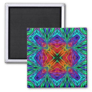 Kaleidoscope Kreations Flashing Fractal No1 Square Magnet