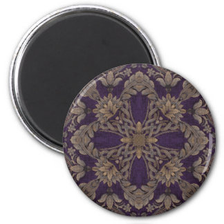 Kaleidoscope Kreations Purple & Gold 1 6 Cm Round Magnet