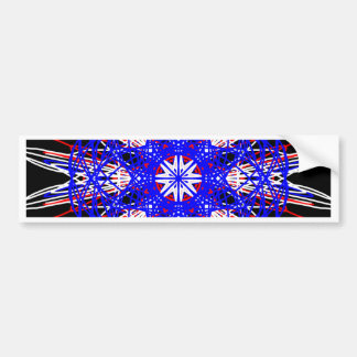 kaleidoscope mandala art black red white blue bumper sticker