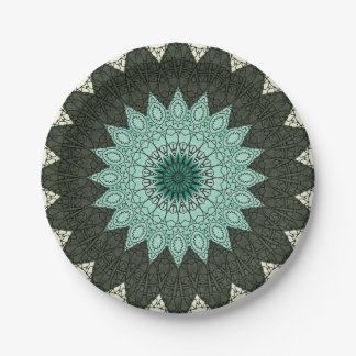 Kaleidoscope Mandala in Green and Blue Paper Plate