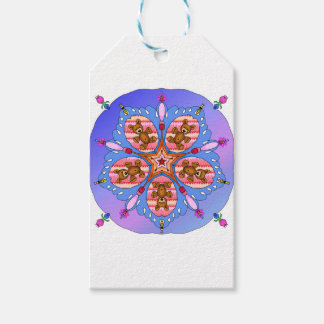 Kaleidoscope of bears and bees gift tags