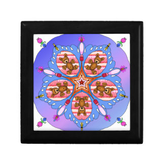 Kaleidoscope of bears and bees small square gift box