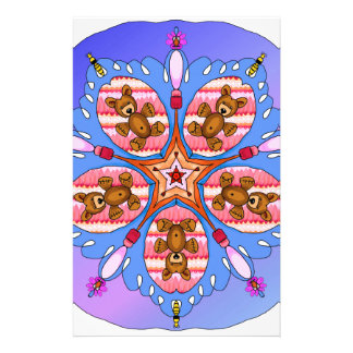 Kaleidoscope of bears and bees stationery