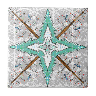Kaleidoscope of winter trees ceramic tile
