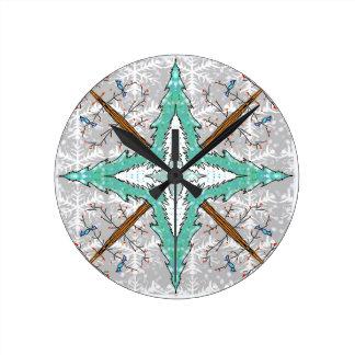 Kaleidoscope of winter trees round clock