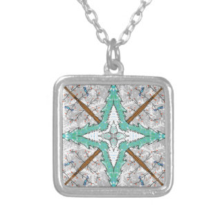 Kaleidoscope of winter trees silver plated necklace
