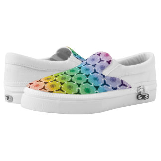 Kaleidoscope pastel rainbow honeycomb pattern Slip-On shoes
