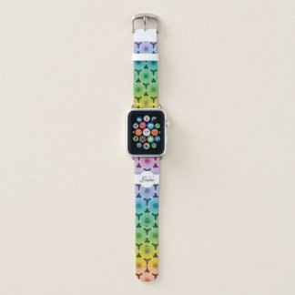 Kaleidoscope pastel rainbow pattern Monogram Apple Watch Band