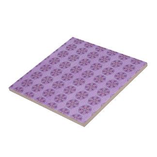 Kaleidoscope pattern, pink and purple roses ceramic tile