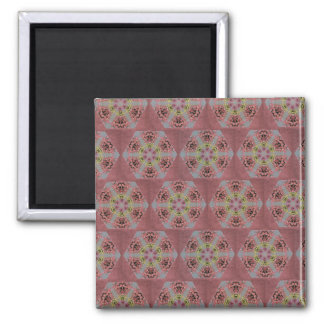 kaleidoscope pattern, pink and yellow roses magnet
