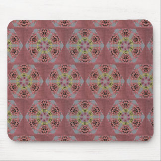 kaleidoscope pattern, pink and yellow roses mouse pad