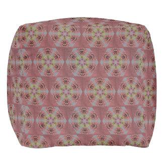 kaleidoscope pattern, pink and yellow roses pouf