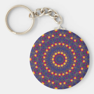 KALEIDOSCOPE PEACE SIGN PATTERN BASIC ROUND BUTTON KEY RING