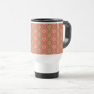 Kaleidoscope Pink Floral Pattern Travel Mug