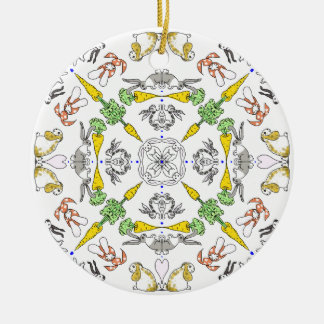 Kaleidoscope rabbits round ceramic decoration
