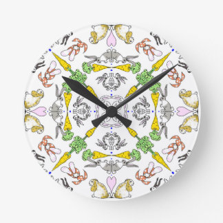 Kaleidoscope rabbits round clock