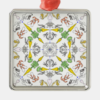Kaleidoscope rabbits Silver-Colored square decoration