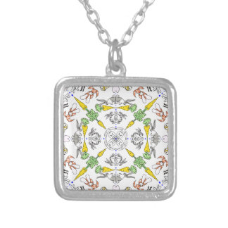 Kaleidoscope rabbits silver plated necklace