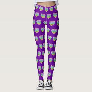Kaleidoscope rainbow honeycomb pattern heart leggings