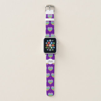 Kaleidoscope rainbow pattern Heart Monogram purple Apple Watch Band