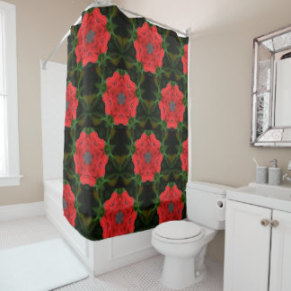Kaleidoscope Red Impatiens Floral Shower Curtain