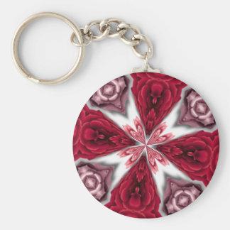 Kaleidoscope Rose Basic Round Button Key Ring