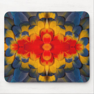 Kaleidoscope Scarlet Macaw feather Mouse Pad