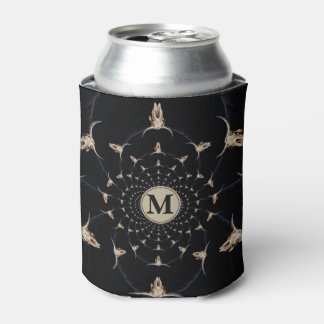 Kaleidoscope sepia rustic buffalo skull with horns can cooler
