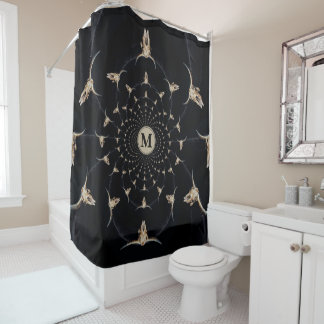 Kaleidoscope sepia rustic buffalo skull with horns shower curtain